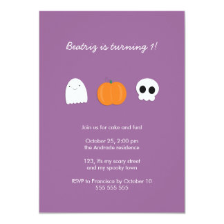 Photo Halloween Birthday Party Purple 1st Birthday Card