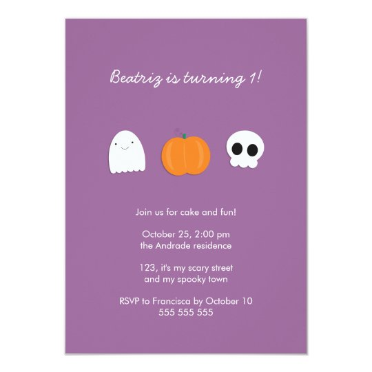 Photo Halloween Birthday Party Purple 1st Birthday Invitation