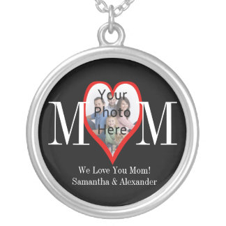 Photo Heart Frame MOM Black and White Personalized Round Pendant Necklace