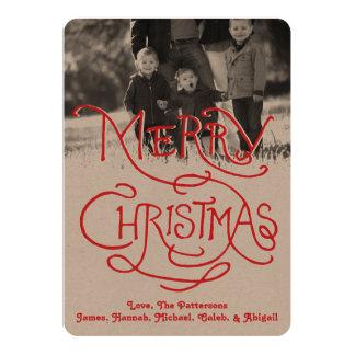 Photo Holiday Card: Artisan Kraft Merry Christmas 13 Cm X 18 Cm Invitation Card