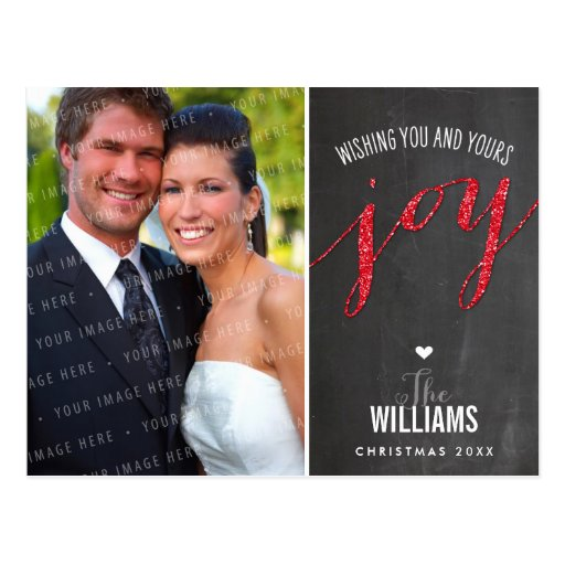 PHOTO HOLIDAY CARD chalkboard glitter type red Post Cards