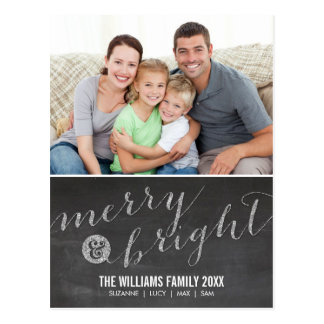 PHOTO HOLIDAY CARD chalkboard glitter type silver Postcard