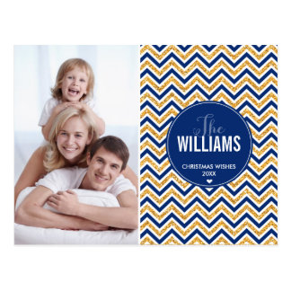 PHOTO HOLIDAY CARD chevron glitter gold navy blue Post Cards