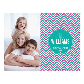 PHOTO HOLIDAY CARD chevron glitter pink jade green Postcards