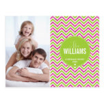 PHOTO HOLIDAY CARD chevron glitter pink lime green Postcards