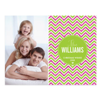 PHOTO HOLIDAY CARD chevron glitter pink lime green Postcard