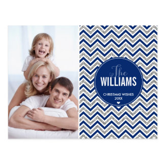 PHOTO HOLIDAY CARD chevron glitter silver navy Postcards