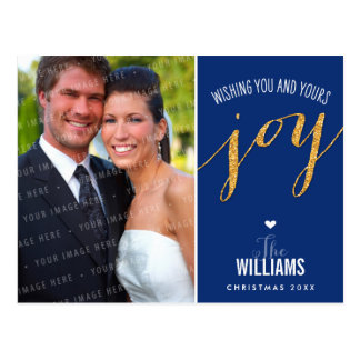 PHOTO HOLIDAY CARD glitter type gold navy blue Post Card