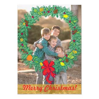 Photo Holiday Card: Merry Christmas Wreath Photo 13 Cm X 18 Cm Invitation Card