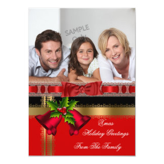 Photo Holiday Christmas Greetings Gold Red Black Card