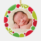 PHOTO HOLIDAY DECOR bright colourful bauble wreath Christmas Ornament