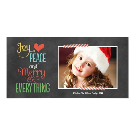 Photo Holiday Greeting Card | Black Chalkboard