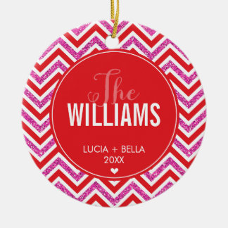 PHOTO HOLIDAY ORNAMENT chevron glitter pink red