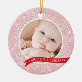PHOTO HOLIDAY ORNAMENT cute winter foliage pink