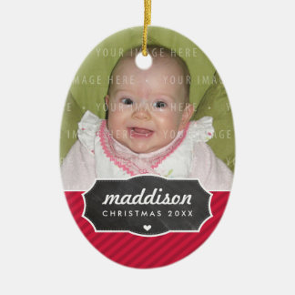 PHOTO HOLIDAY OVAL DECOR chalkboard sign bold red Christmas Ornament