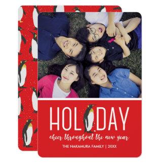 Photo Holiday Penguin Cheer Card