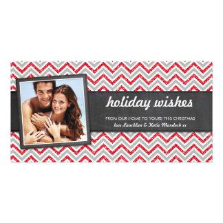 PHOTO HOLIDAY retro chevron red glitter gray Custom Photo Card
