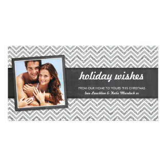 PHOTO HOLIDAY retro chevron silver glitter gray Card