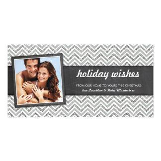 PHOTO HOLIDAY retro chevron silver glitter gray Personalized Photo Card
