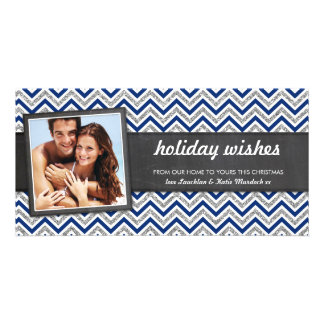PHOTO HOLIDAY retro chevron silver glitter navy Card