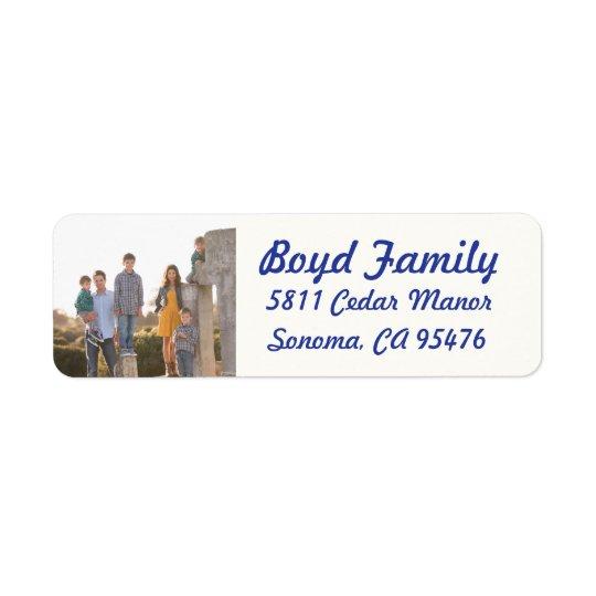 Photo Holiday Return Address Labels: Blue & White