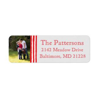 Photo Holiday Return Address Labels: Striped Photo Return Address Label
