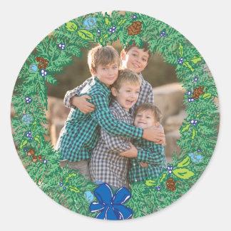 Photo Holiday Sticker: Round Hanukkah Wreath Frame Classic Round Sticker