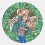 Photo Holiday Sticker: Round Hanukkah Wreath Frame Round Sticker