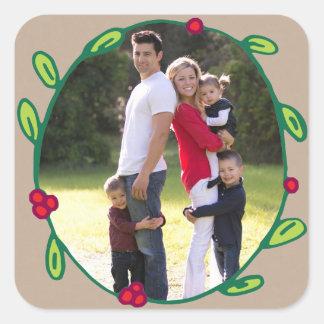 Photo Holiday Sticker: Rustic Foliage Wreath Photo Square Sticker