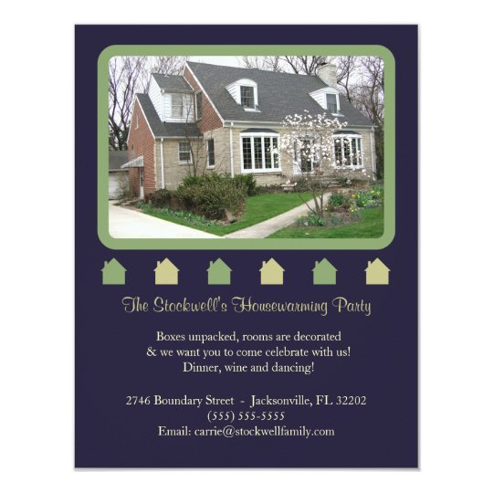 Photo Housewarming Invitation - Blue and Green