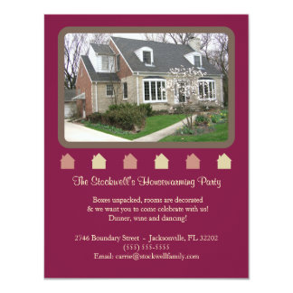 Photo Housewarming Invitation - Maroon
