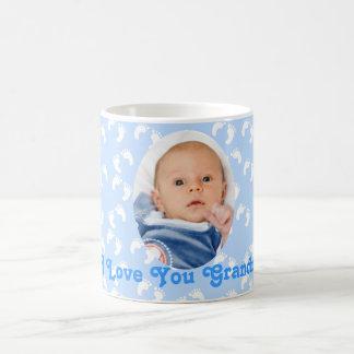 "Photo ""I Love You Grandma"" Blue and White Basic White Mug"