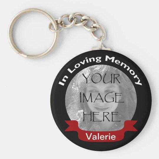 Photo In Loving Memory Black Red Personalised Key
