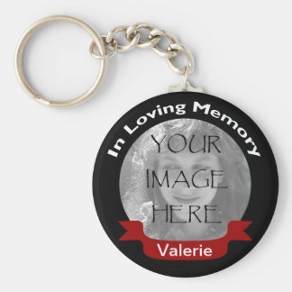 Photo In Loving Memory Black Red Personalized Basic Round Button Key Ring