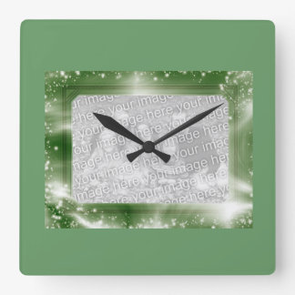 Photo Insert Frame Green Sparkles Wall Clock