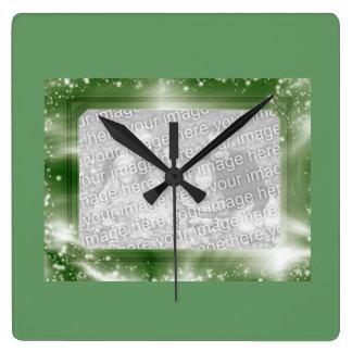 Photo Insert Frame Green Sparkles Wall Clock