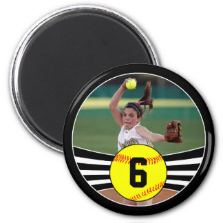 Photo & Jersey Number Fastpitch Softball Magnet