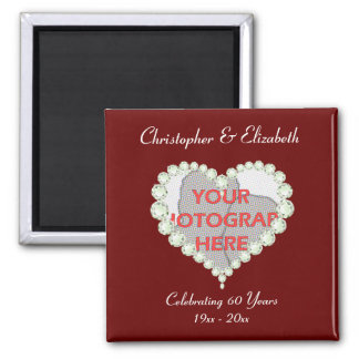 Photo Love Heart Diamond Anniversary Memento Square Magnet