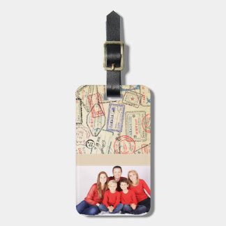 Photo Luggage Tag with Travel Stamps