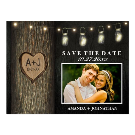 Photo Mason Jar Oak Tree Save The Date Cards