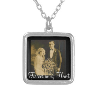 Photo Memorial Charm for Wedding Bouquet in Black Silver Plated Necklace