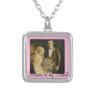 Photo Memorial Charm for Wedding Bouquet in Pink Silver Plated Necklace