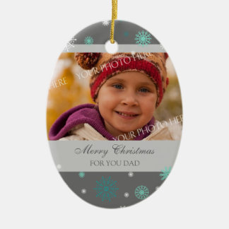 Photo Merry Christmas Dad Ornament Aqua Grey