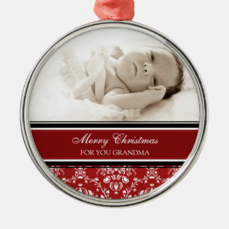 Photo Merry Christmas Grandma Ornament Red