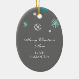 Photo Merry Christmas Mom Ornament Aqua Grey