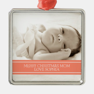 Photo Merry Christmas Mom Ornament Coral
