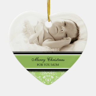 Photo Merry Christmas Mom Ornament Green