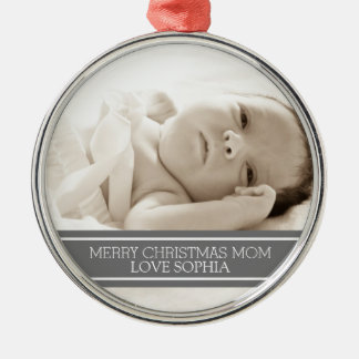 Photo Merry Christmas Mom Ornament Grey
