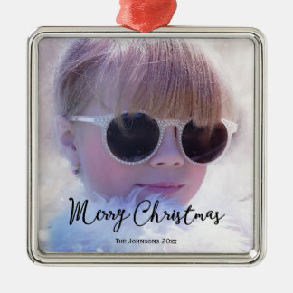 Photo Merry Christmas Premium Square Ornaments