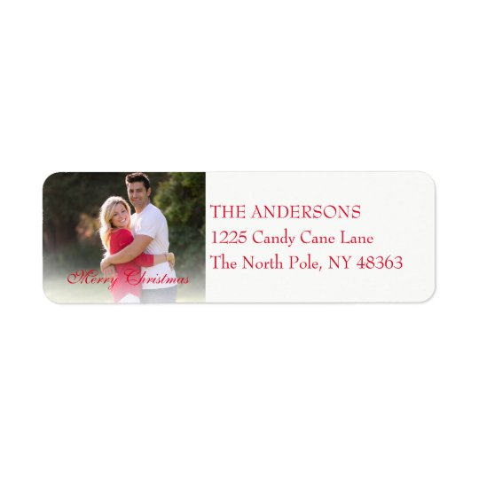 Photo Merry Christmas Red Holiday Address Label